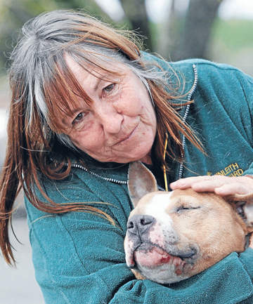 Carolyn King with her American Staffordshire terrier Jimbo.