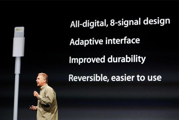 Phil Schiller introduces the iPhone 5 new connector.