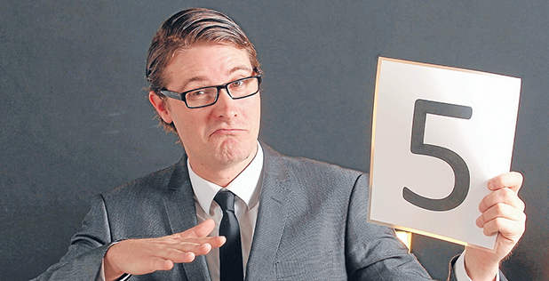 IS THAT OUT OF 10?: Nick Wilkinson, MC for the 2012 Improv Combat season that starts at the Meteor Theatre on Sunday night.