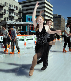 Figure Skaters Patrick Costley and Nina Koslon on the ice rink in Garden Place Hamilton last year.