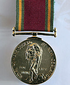 Royal Humane Society of New Zealand's gold medal for bravery.
