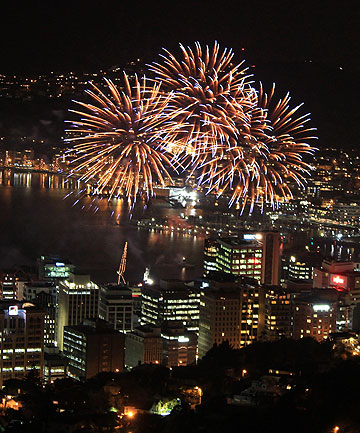 BOOMING TRIBUTE: Fireworks explode over Wellington Harbour during a display held in honour of Olympic gold medal shotputter Valerie Adams.