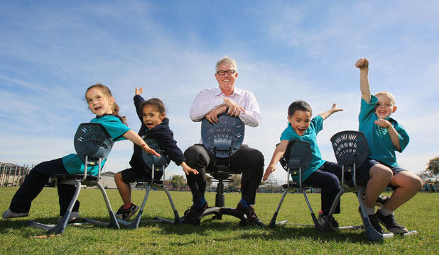 Students from Room ''He Koru'' of Peterhead School with Furnware's Hamish Whyte. From left, Aaliyah Wilson-Shepherd, Sephera Douglas, Fagan Waikato, Anthony Dennison, all aged 5.