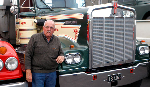 Ian Sedding, of Papatoetoe, with his Kenworth in Invercargill yesterday as part of the South Island Classic Truck Tour.