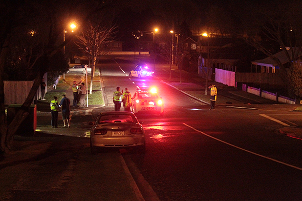 The collision occurred on Lafferty St at about 10pm last night near the intersection with Hinau St.