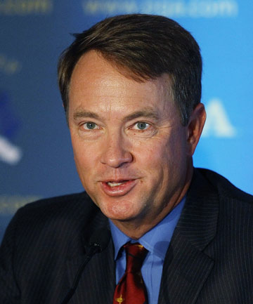 Davis Love III talks a press conference after being named captain of the US Ryder Cup team.