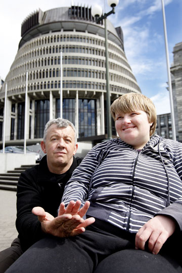 A LITTLE RESPITE:  Peter Humphreys and his daughter Sian, who has Angelman syndrome, protesting outside parliament yesterday.