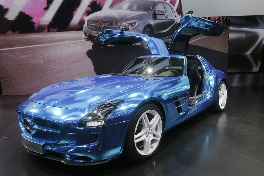 The Mercedes-Benz SLS AMG Electric Drive model on display at the Paris Motor Show.