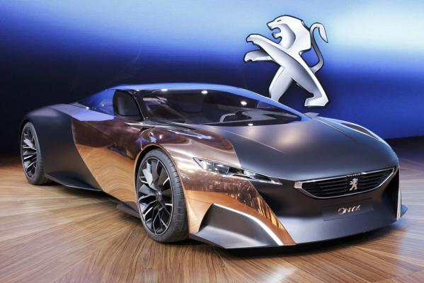 A Peugeot Onyx concept car at the Paris Motor Show.