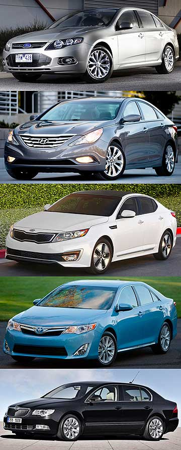 Our best big fours, from top, Ford Falcon EcoBoost, Hyundai i45, Kia Optima, Toyota Camry and Skoda Superb.