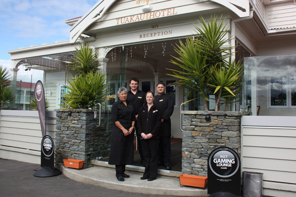 Maitre-d Cathie Hall, left, food and bar manager Paul Braithwaite, duty manager Ange Beresford and catering manager Ken Duncan are celebrating Tuakau Hotel's naming as a finalist in the Hospitality New Zealand Awards for Excellence.