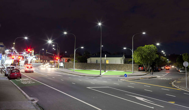 White LED street lights with adaptive dimming controls light up  the way at  Eden Park, Auckland