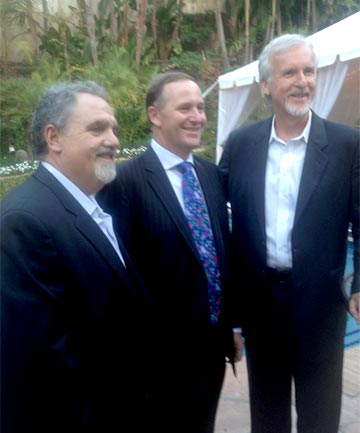 John Key with director and New Zealand land owner James Cameron, right, and producer Jon Landau, left.