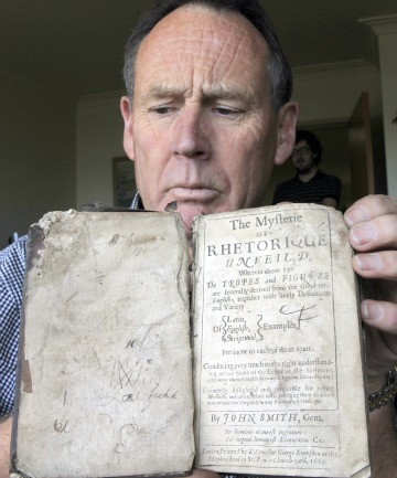 John Walker with the rare 1665  book ifThe Mysterie of Rhetorique Unveil'd