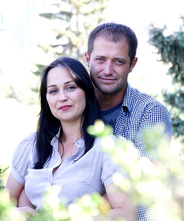 DENIED ENTRY: Veronica Lazarovici and her husband Madalin Vannatoru.