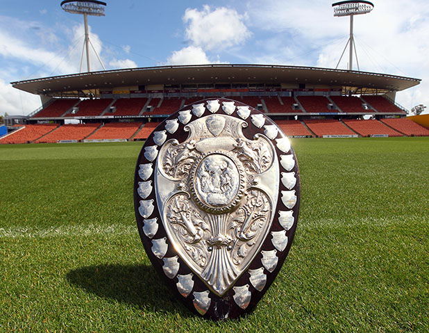 Tha Ranfurly shield on display at the Waikato Stadium.