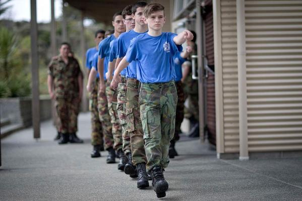 Teen cadets in training
