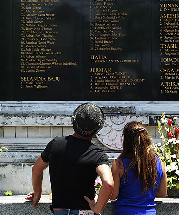 10 YEARS ON: Australian relatives of victims from the 2002 Bali bombings stand in front of the Bali Bomb Monument in Kuta.