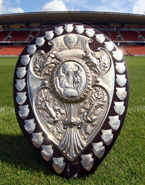 PRIZED POSSESSION: The Ranfurly Shield at its new home at Waikato Stadium.