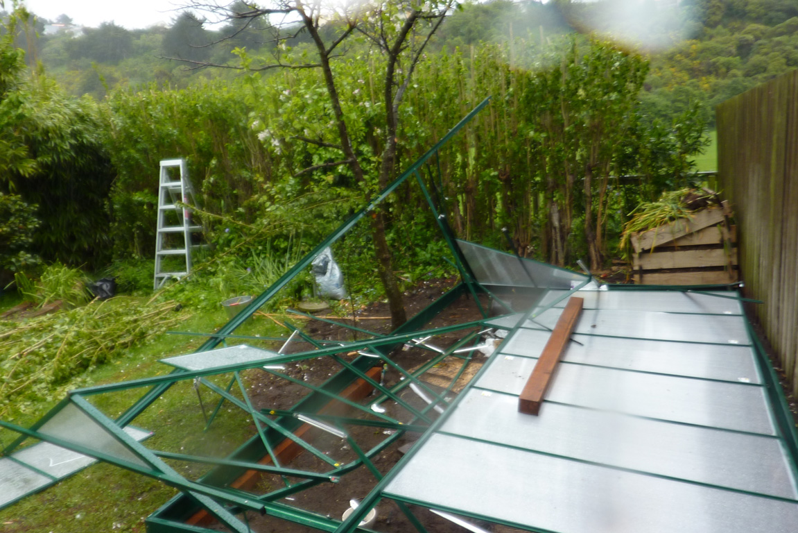 Carly Bustin and Bruce Waddleton nearly lost the greenhouse at their Redcliffs property in the wind.