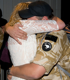 Fairfax journalist Greer McDonald welcomes back her fiance, after his last seven month posting to Afghanistan with the New Zealand Defence Force.