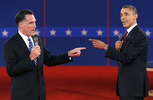 FINGER POINTING: Mitt Romney and Barack Obama spar during the second presidential debate.
