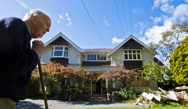 Malcolm Ott wants the council to collect rubbish from his home, which is a write-off because of quake damage.