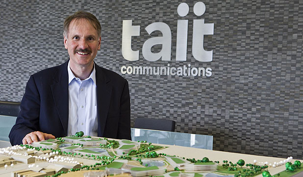 ONE STOP: Tait Communications chief executive Frank Owen with a model of the  new campus which will be park-like and open to the public.