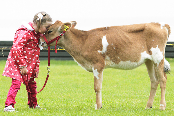 ANIMAL AFFECTION: Jaymie Parker gives her calf a kiss.