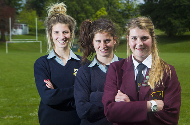 PROMISING: Tayla Christensen, left, Emily Hanrahan and Roberta Wigelsworth have all made the New Zealand under-16 team.