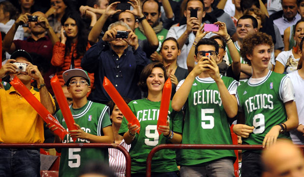 Celtics fans in Milan