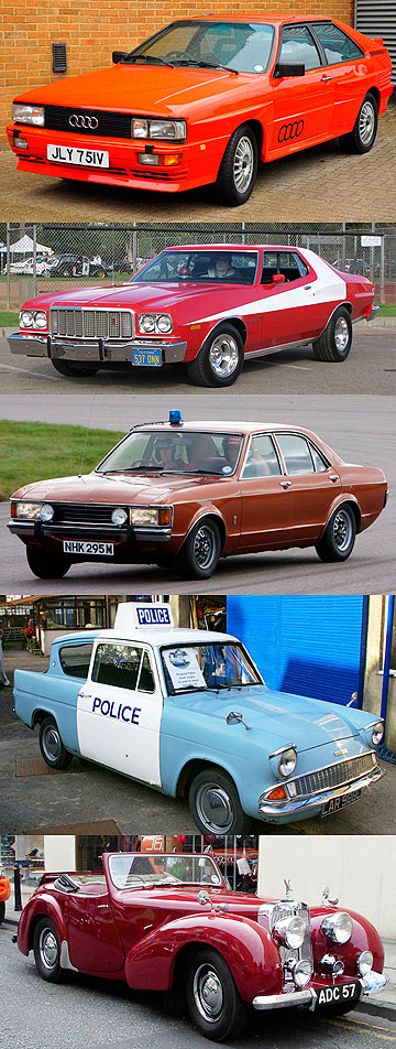 TV COP CARS: From top, Audi Quattro, Ford Torino, Ford Consul GT, Ford Anglia and Triumph Roadster.