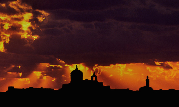 Mdina silhouette in the setting sun
