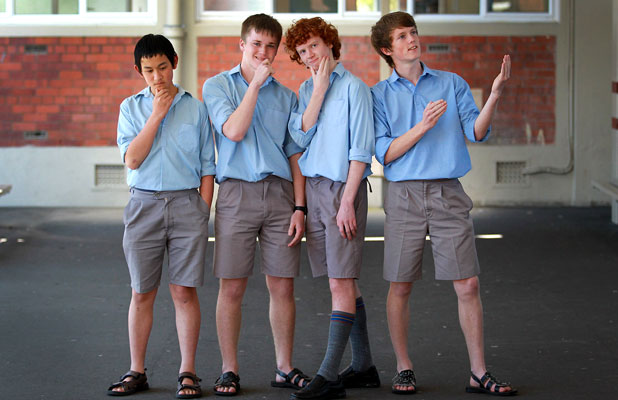 Four Francis Douglas Memorial College students are off to Auckland to compete in the Future Problem Solving competition. Clockwise from bottom left, Andrew Xiao, 14, Logan Walsh, 15, Michael Wells, 15, Patrick Fisher-Evans, 14.