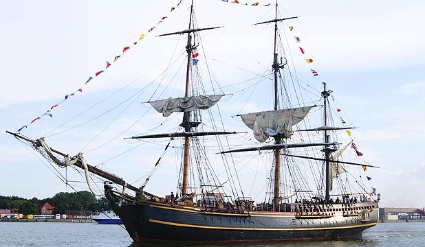 A 2011 file photo of the replica HMS Bounty tall ship which has sunk off the North Carolina coast of the US.