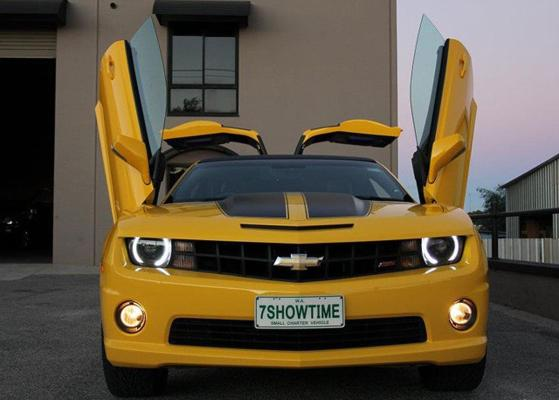 Bumblebee Camaro transformed into a stretch limo.