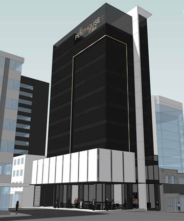 HIGH-RISE SEX CLUB: A drawing of the 10-storey super-brothel Chow Group plans for opposite SkyCity in Auckland