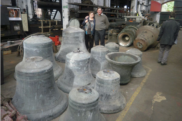 The bells from the quake damaged Christ Church Cathedral are being repaired at the same place they were originally cast in 1978. All 13 church bells were rescued from the quake damaged cathedral, but suffered varying degrees of damage