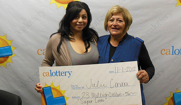 WINNERS: Charliena Borunda, left, poses with her mother, Julie Cervera at a Calfornia Lottery news conference in San Bernardino, California.