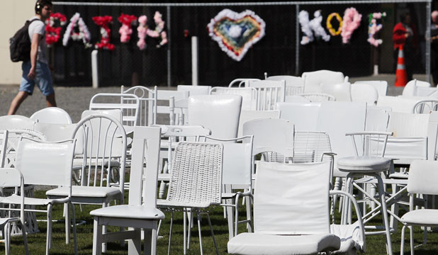 The 185 chairs representing victims of the February, 2011, earthquake have been repeatedly damaged by vandals, the memorial's creator says.