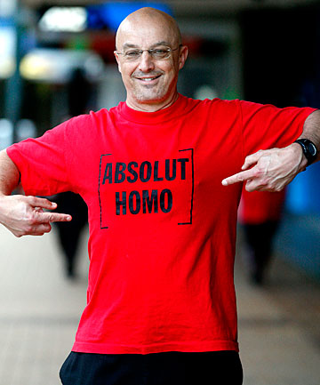 Green MP Kevin Hague shows off his Absolut Homo T-Shirt.
