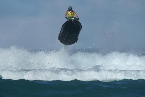 Carl Lampe Jnr racing in the World Surf Champs on the Gold Coast in 2007.