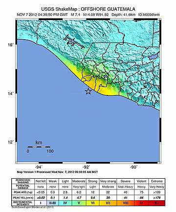 QUAKE: A shake map from the USGS shows the intensity of the earthquake.