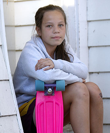 GRABBED: Tamera Walker, 12, who remembered the ''stranger danger'' warning and fought off an attacker with her skatebo