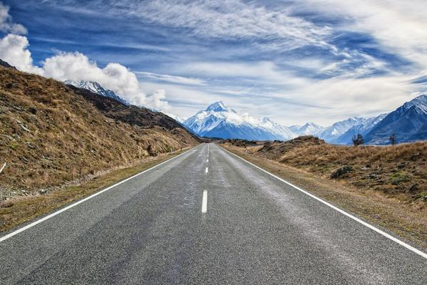 The road to Mount Cook.