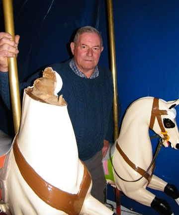 GONE: The 130-year-old merry-go-round at the Bay has been vandalised and Caroline Bay Association president Kevin Ancell is searching for a horse's head.