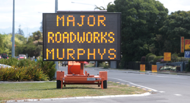 Road works sign