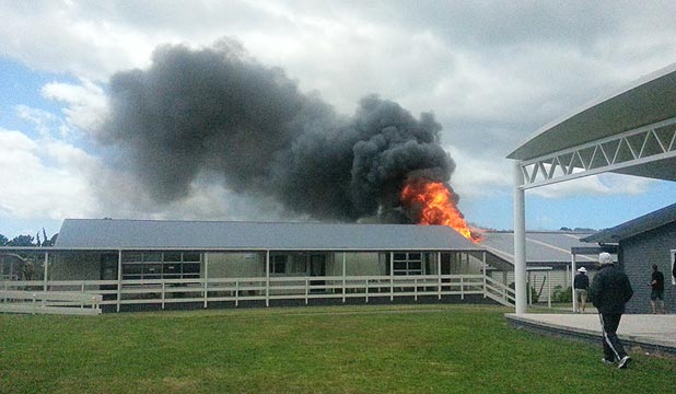 SCHOOL FIRE: The woodwork room caught on fire about 11am.