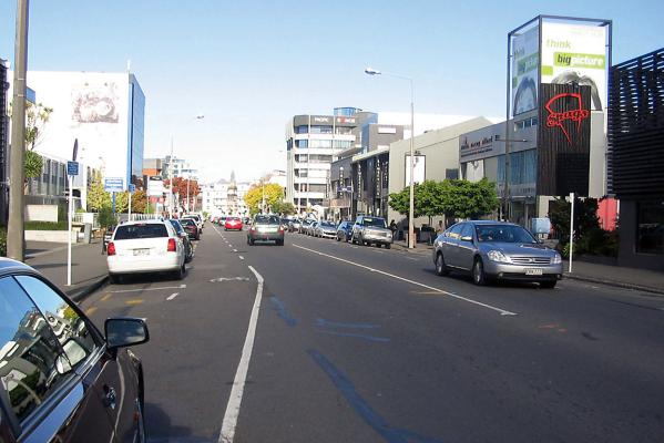 Typical main street in Christchurch today