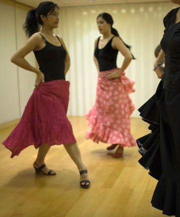 Residents take part in Spanish dancer Carolina Vera's flamenco workshop in Sheung Wan.